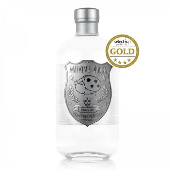 Flasche DirtyWhitePaint Marvin's Premium-Vodka 2nd Edition von Simon's Feinbrennerei