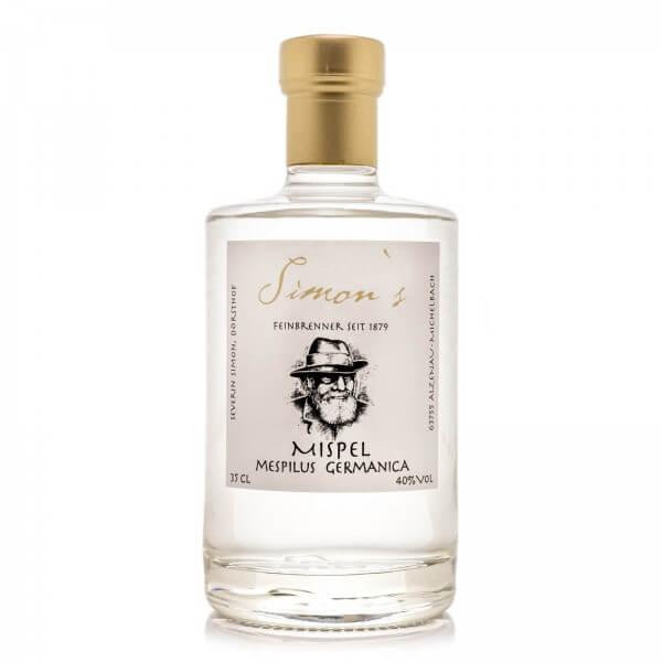 Produktbild einer Flasche Simon's Mispel Obstbrand Schnaps