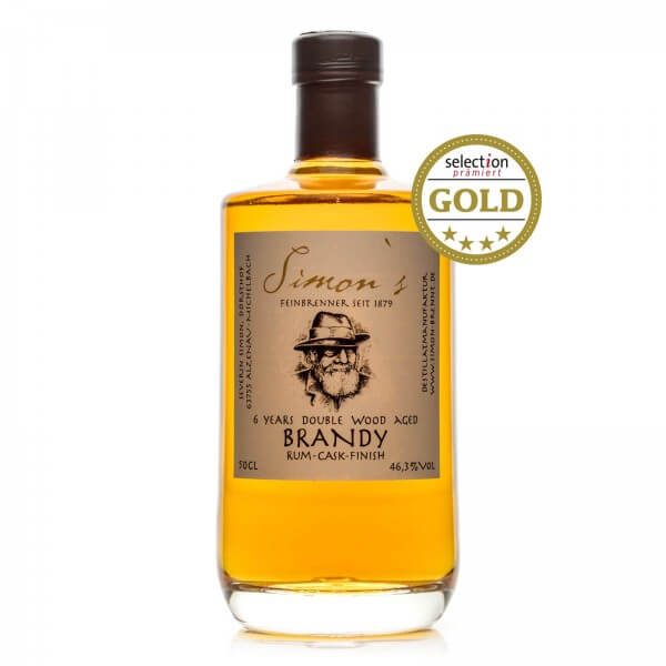 Produktbild einer Flasche Simon's 6 years double wood aged Brandy