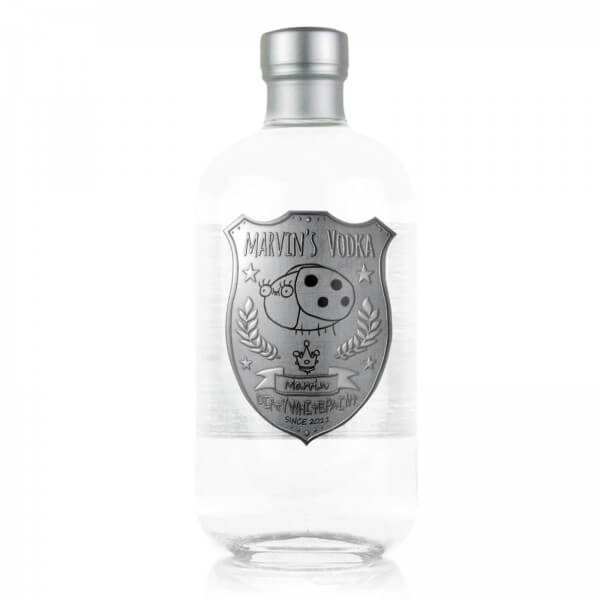 Flasche DirtyWhitePaint Marvin's Premium-Vodka 2nd Edition von Simon's Feinbrennerei